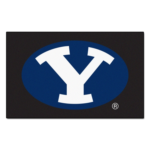 Fanmats Machine-Made Brigham Young University Black Nylon Ulti-Mat (5' x 8')