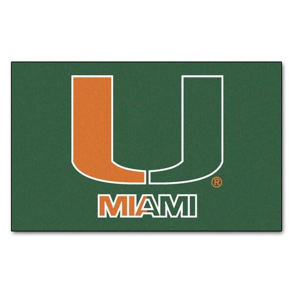 Fanmats Machine-Made University of Miami Green Nylon Ulti-Mat (5' x 8')
