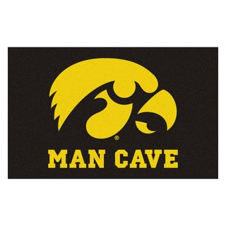 Fanmats Machine-Made University of Iowa Black Nylon Man Cave Ulti-Mat (5' x 8')