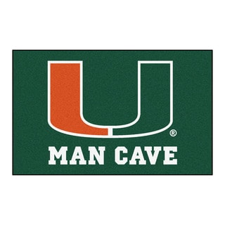 Fanmats Machine-Made University of Miami Green Nylon Man Cave Ulti-Mat (5' x 8')
