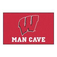 Fanmats Machine-Made University of Wisconsin Red Nylon Man Cave Ulti-Mat (5' x 8')