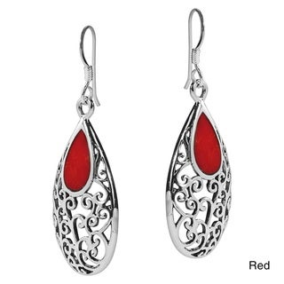 Filigree Vines Oval Stone Inlay .925 Silver Dangle Earrings (Thailand)