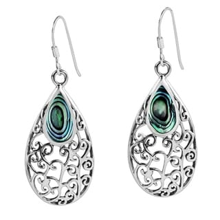 Handmade Filigree Vines Oval Stone Inlay .925 Silver Dangle Earrings (Thailand)