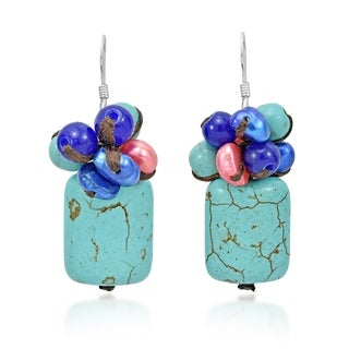 Handmade Ethnic Cluster Square Turquoise Sterling Silver Earrings (Thailand)