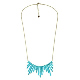 Mystic Comets Round Turquoise Drop Brass Chain Necklace (Thailand)