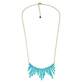 Handmade Mystic Comets Round Turquoise Drop Brass Chain Necklace (Thailand)