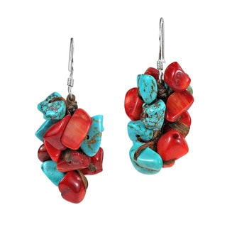 Handmade Beautiful Cluster Turquoise and Coral .925 Silver Earrings (Thailand)