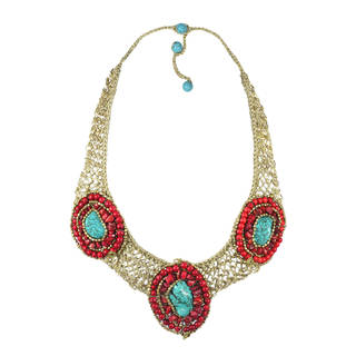 Tribal Enchantress Stone Mosaic Collar Silk Net Necklace (Thailand)