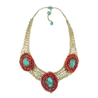 Handmade Tribal Enchantress Stone Mosaic Collar Silk Net Necklace (Thailand)