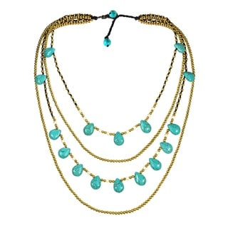 Handmade Mystic Princess Turquoise Teardrop Layers Brass Necklace (Thailand)