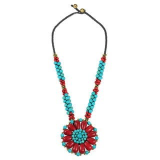 Blossoming Beauty Synthetic Coral and Turquoise Stone Floral Necklace