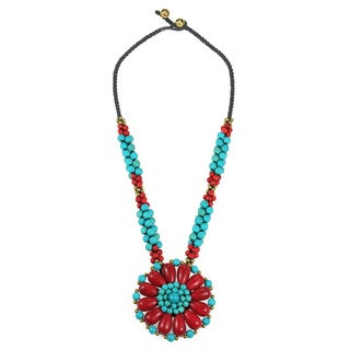 Handmade Blossoming Beauty Coral and Turquoise Stone Floral Necklace (Thailand)