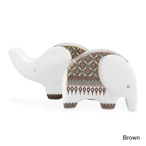 Handmade Elephant Ceramic Salt and Pepper Shaker Set (Thailand)