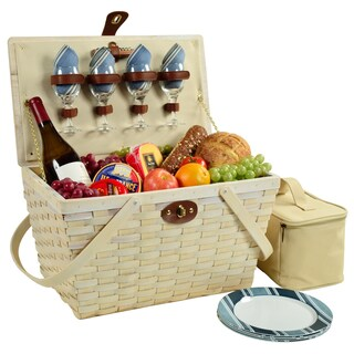 Picnic at Ascot Settler Picnic Basket for Four (Option: White/Blue)