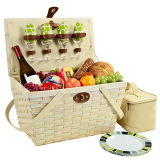 Picnic at Ascot Settler Picnic Basket for Four (Option: White/Multi)