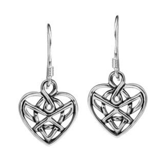 Romatic Celtic Heart Knot Sterling Silver Dangle Earrings