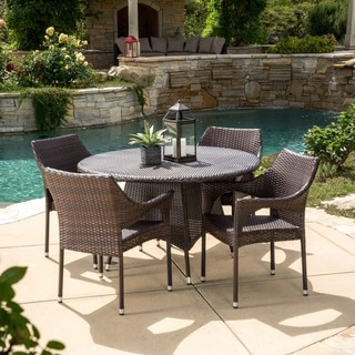 Christopher Knight Home Armstrong Outdoor Multi-Brown 5-piece Dining Wicker Set