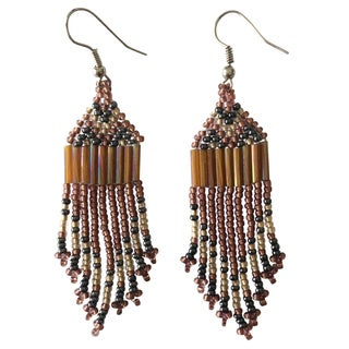 Zulu Pink, Beige and Black Beaded Earrings (South Africa)
