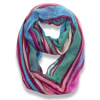 Peach Couture Trendy Neon Maroon Striped Print Infinity Scarf
