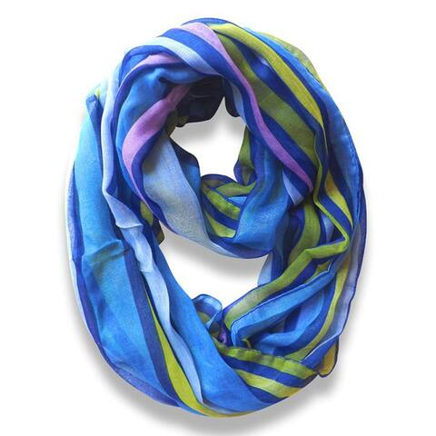 Peach Couture Trendy Neon Blue Striped Print Infinity Scarf