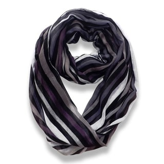 Peach Couture Trendy Black Striped Print Infinity Scarf