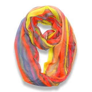 Peach Couture Trendy Neon Pink Striped Print Infinity Scarf