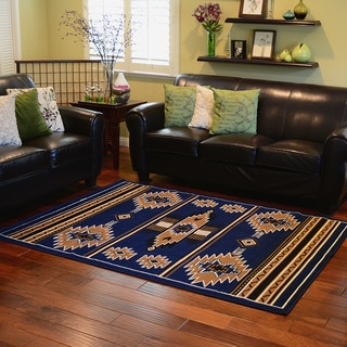 TajMahal SW 3 Navy Color Southwestern Design Area Rug (5'x7')
