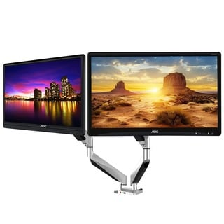 Loctek High-end Dual Arm Full Motion Gas Spring Mount (For Two 10 to 27-inch monitors)