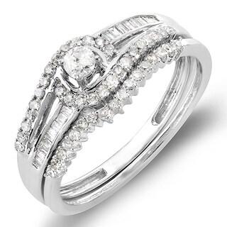 Elora 10k White Gold 1/2ct TDW Round and Baguette Diamond Swirl Bridal Ring Set (H-I, I1-I2)