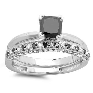 14k Gold 1.5ct TDW Black and White Princess-cut Diamond Bridal Ring Set