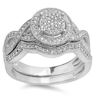 Elora Sterling Silver 1/2ct TDW Diamond Micropave Bridal Ring Set (I-J, I2-I3)