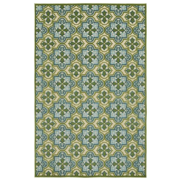 Indoor/Outdoor Luka Green Tile Rug - 8'8 x 12'