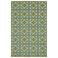 Indoor/Outdoor Luka Green Tile Rug (8'8 x 12'0)