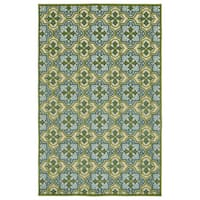 Indoor/Outdoor Luka Green Tile Rug - 8'8 x 12'0