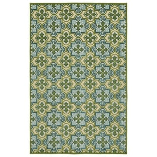 "Indoor/Outdoor Luka Green Tile Rug - 7'10"" x 10'8"""