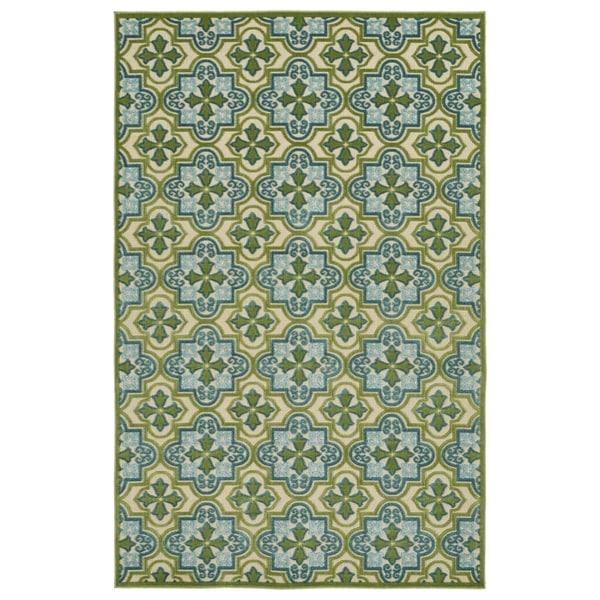 Indoor/Outdoor Luka Green Tile Rug - 7'10 x 10'8