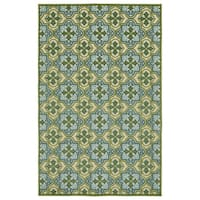 Indoor/Outdoor Luka Green Tile Rug - 7'10 x 10'8