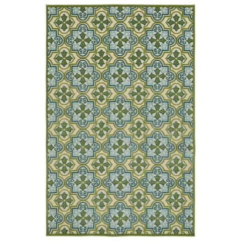 """Indoor/Outdoor Luka Green Tile Rug - 5' x 7'6"""""""