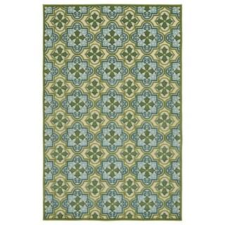 Indoor/Outdoor Luka Green Tile Rug (5' x 7'6)