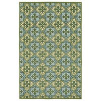 Indoor/Outdoor Luka Green Tile Rug (5' x 7'6)