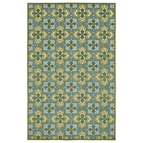 """Indoor/Outdoor Luka Green Tile Rug - 3'10 x 5'8/3'10"""" x 5'7"""""""