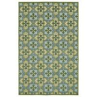 """Indoor/Outdoor Luka Green Tile Rug (3'10 x 5'8/3'10"""" x 5'7"""")"""
