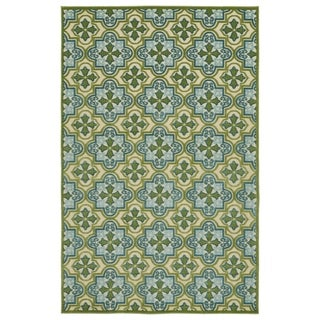"Indoor/Outdoor Luka Green Tile Rug - 3'10 x 5'8/3'10"" x 5'7"""