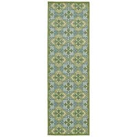 Indoor/Outdoor Luka Green Tile Rug (2'6 x 7'10)