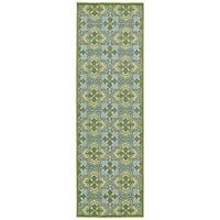 Indoor/Outdoor Luka Green Tile Rug - 2'6 x 7'10