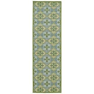 Indoor/Outdoor Luka Green Tile Rug (2'6 x 7'10)