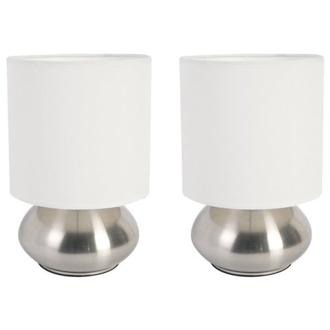 Clay Alder Home Roseman Mini Lamp with Touch Base and Fabric Shade (Set of 2)