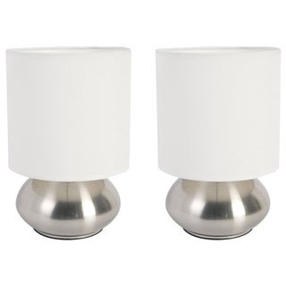 Simple Designs Gemini Mini Lamp with Touch Base and Fabric Shade (Set of 2)