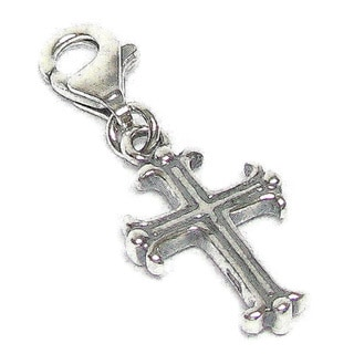 Queenberry Sterling Silver Holy Cross Dangle European Bead Charm