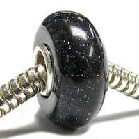 Queenberry Sterling Silver Black Sand Stone European Bead Charm
